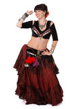 Smilling pretty trible belly dancer. Stock Photo