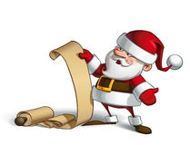 Smilling Santa - Gift Scroll Royalty Free Stock Images