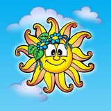 Smilling sun. Collor illustration of smilling sun with flowers Royalty Free Stock Images