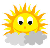 Smilling sun. Abstract smilling sun over clouds Stock Image