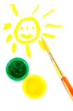 Smilling sun, paint and brush Royalty Free Stock Photo