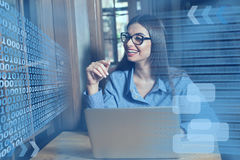 Smilling woman, laptop and glasses Stock Image