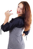 Smilling woman with red lipstick Royalty Free Stock Photo