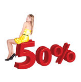 Smilling woman in yellow dress with 50% Stock Image