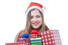 Smilling wooman with giftboxes. Portrait of smilling wooman with giftboxes isolated on white Royalty Free Stock Images