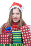 Smilling wooman with giftboxes. Portrait of smilling wooman with giftboxes isolated on white Royalty Free Stock Photography
