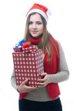 Smilling wooman with giftboxes. Portrait of smilling wooman with giftboxes isolated on white Stock Image