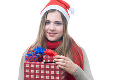 Smilling wooman with giftboxes Stock Images