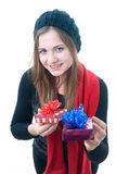 Smilling wooman with giftboxes Royalty Free Stock Photography