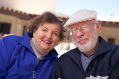Smilng Senior Adult Couple Bundled Up Outdoors Royalty Free Stock Photo
