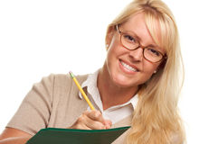 Smilng Woman with Pencil and Folder royalty free stock photo