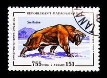 Smilodon förhistorisk djurserie, circa 1994 Arkivfoton