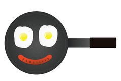 Smily face of fried eggs and sausage in pan royalty free stock photography