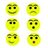 Smily faces. Happy sad,fear,kissy,surprised Royalty Free Stock Photography