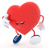 Smily heart. Jumping on white background- 3D render Royalty Free Stock Images