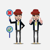 Smily man with right and wrong sign. thumps up -. Illustration Stock Photos