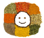 Smily spices and herbs. Spices and herbs isolated background. Smiley face Royalty Free Stock Photo