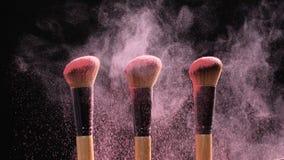 Smink- och skönhetbegrepp Borsten med rosa färger pudrar explosion på svart bakgrund stock video