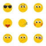 Smirk icons set, cartoon style. Smirk icons set. Cartoon set of 9 smirk vector icons for web isolated on white background Royalty Free Stock Photos