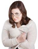 Smirking Lady in Sweater Royalty Free Stock Photo