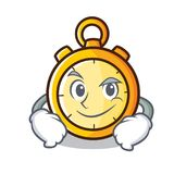 Smirking chronometer character cartoon style Stock Images
