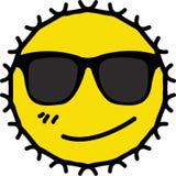 Smirking face of wearing dark sunglasses yellow sun vector illustration