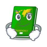 Smirking green passport in the cartoon shape. Vector illustration stock illustration