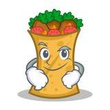 Smirking kebab wrap character cartoon. Vector illustration royalty free illustration