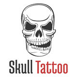 Smirking and scary human skull tattoo with grin and naked teeth. Fearsome and dangerous, grim and dreadful, fatal and. Spooky skeleton mascot or emblem. eps 10 royalty free illustration