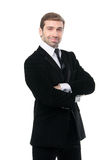 Smirking successful businessman. Isolated over a white backgroun Stock Photography