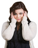 Smirking Lady with Hands on Hair Royalty Free Stock Images