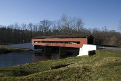 Smith Bridge 2. A covered Bridge over a small stream in early winter Royalty Free Stock Image