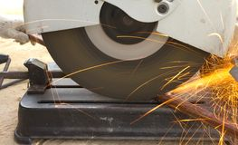 The smith are cutting steel Royalty Free Stock Photography