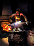 Smith forging a sword. Smith in his workroom, with his tools near the fire, forging a sword on the anvil Royalty Free Stock Photography