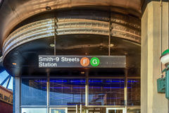Smith-Ninth Street Station - Gowanus, Brooklyn. Smith-Ninth Streets is a local station on the IND Culver Line of the New York City Subway in the Gowanus royalty free stock images