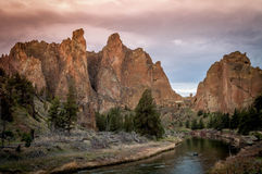Smith Rock in Oregon. Smith Rock State Park in Central Oregon under a red sky. A popular rock climbing area stock photography