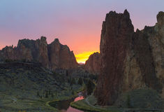 Smith Rock Park at Sunset Royalty Free Stock Photography