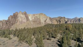 Smith Rock State Park Aerial. Smith Rock State park in Terrebonne, Oregon is a destination location for hiking and a world renowned rock climbing mecca.  It is stock footage