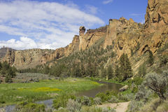 Smith Rock State Park with the Monkey Face stock image