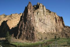 Smith Rock State Park - Terrebonne, Oregon. Smith Rock is a 550 foot towering mass of rock just east of Terrebonne, Oregon.  The formation originated from an Royalty Free Stock Images