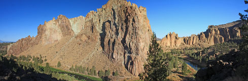 Smith Rock State Park - Terrebonne, Oregon. Smith Rock is a 550 foot towering mass of rock just east of Terrebonne, Oregon.  The formation originated from an Royalty Free Stock Image