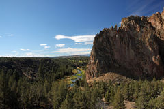 Smith Rock State Park - Terrebonne, Oregon. Smith Rock is a 550 foot towering mass of rock just east of Terrebonne, Oregon.  The formation originated from an Royalty Free Stock Photography
