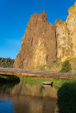 Smith rocks State Park and the crooked River in Oregon at sunrise. Sunrise view of Smith rock State Park and the crooked River in Oregon stock image