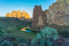 Smith rocks State Park and the crooked River in Oregon at sunris Royalty Free Stock Photo