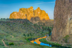 Smith rocks State Park and the crooked River in Oregon at sunrise royalty free stock photography