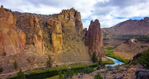 Smith Rocks State Park, a popular rock climbing area in central Oregon near Terrebonne royalty free stock photography