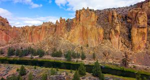 Smith Rocks State Park, a popular rock climbing area in central Oregon near Terrebonne stock photography