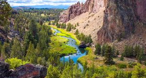 Smith Rocks State Park, a popular rock climbing area in central Oregon near Terrebonne stock image