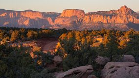 Smith`s mesa road winds through juniper trees and slickrock with the mountains of Zion National park in the background at sunset stock photography