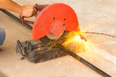 Smith was cutting sparks flying. Steel cutters are working sparks Royalty Free Stock Image